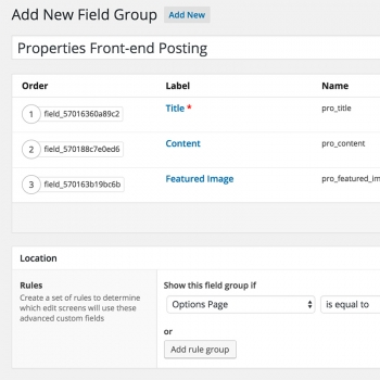 ACF Field Group for Front-end Posting