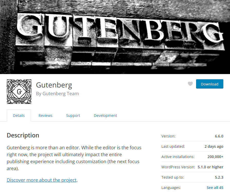 Gutenberg WordPress Editor Plugin